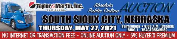 Auction Banner SOUTH SIOUX CITY, NE - TRACTORS RING 1 - 05/27/2021