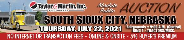 Auction Banner SOUTH SIOUX CITY, NE - 07/22/2021 - RING 1 TRACTORS