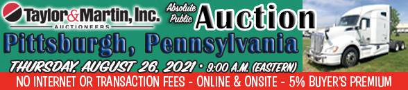 Auction Banner BURGETTSTOWN (PITTSBURGH), PA - 08/26/2021